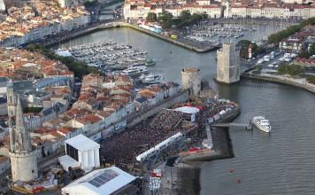 La Rochelle / 12 juillet 2014 - Vue aérienne des Francofolies, parking Saint Jean d'Acre - Couillaud Pascal ( ST JEAN D'ACRE )