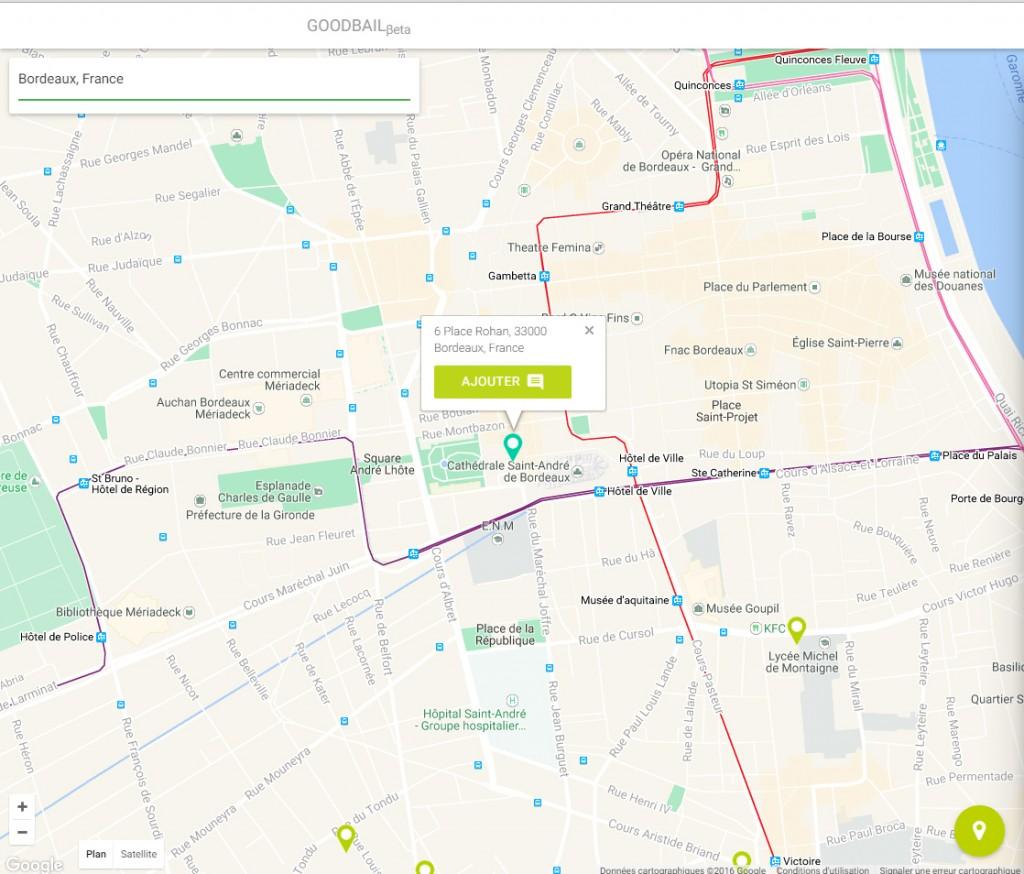 Une carte Google Maps intuitive pour ajouter son logement à la base de données Goodbail - © Capture d'écran / Goodbail