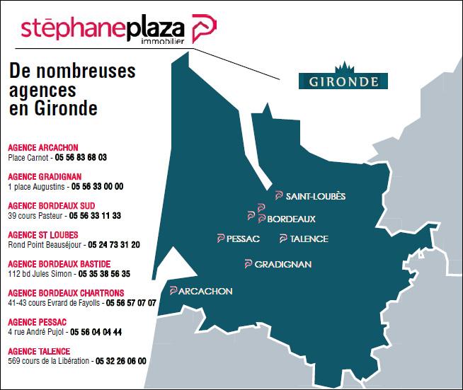 De nombreuses agences Stéphane Plaza Immobilier en Gironde